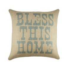 Bless This Home Pillow Cover, Rustic Burlap Pillow, Decorative Southern Pillow, Farmhouse, 16""