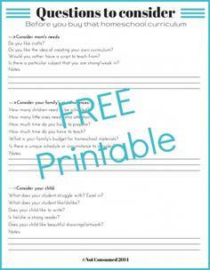 Questions to consider BEFORE you buy that homeschool curriculum. FREE Printable.