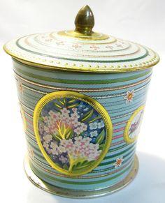 BARET WARE container candy tea tin SUMMER FLOWER green art grace England