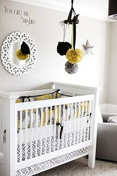 Grey and yellow baby room!