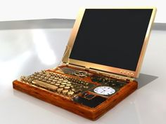 Steampunk laptop (what I really want to do with Ais' old laptop) What Is Steampunk, Steampunk Book, Steampunk Crafts, Steampunk Gadgets, Steampunk Design, Steampunk Clothing, Steampunk Fashion, Renaissance Clothing, Steampunk Necklace