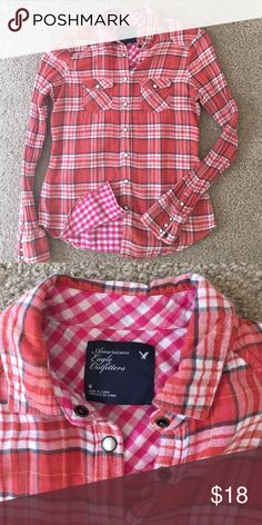 AE orange plaid button down 🍁 Cute snap button down. Perfect with jeans and your favorite booties. 🍁 American Eagle Outfitters Tops Button Down Shirts