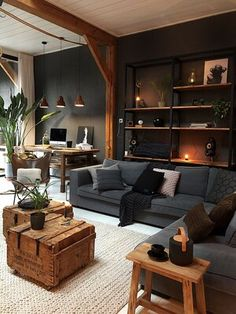 Cozy Living Rooms, Home Living Room, Interior Design Living Room, Living Room Designs, Living Room Decor, Modern Interior, Apartment Living, Cosy Apartment, Brown Interior