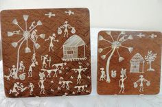 Items similar to Warli Hand Painted Set of Two, Tribal Art, Rural India, Unique Christmas Gift, Wooden Trivet on Etsy Paint Set, Tribal Art, Handmade Crafts, Hand Painted, Unique Jewelry, Painting, Etsy, Vintage, Beautiful