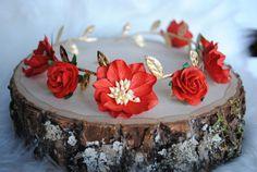 SCARLET FLOWER CROWN, gold flower crown, red flower crown, roman goddess crown…