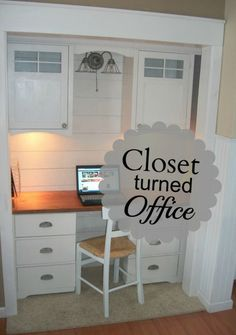 Closet turned Office. I've always loved this idea, but I'd have to have a ton of closets to want to give one up for this...lol