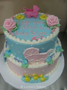 Baby Shower Cake Pink And Blue Buttercream   Google Search