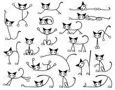 Colección de editable vector bocetos gato en distintas posiciones