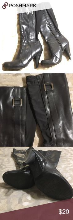 """Steel Gray Knee High Boots - Awesome shape! Steel gray boots that sit just below the knee. Size 8M. Silver buckle detail, inner leg half zip. Leather look front and classy stretch back. 3"""" heel. These are in great shape! Andrew Geller Shoes Heeled Boots"""