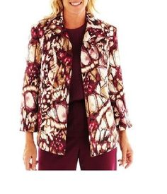 fd5ef76251d Alfred Dunner Womens Jacket Circle Oaks Abstract Print Lined size 8 10 NEW