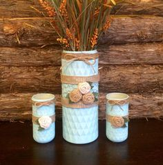 Spa Blue Mason Jar Vase, Hand Painted and Distressed Mason Jars Vases, One of a kind set of Quilted Mason Jar vases, Large Mason Jar vase Large Mason Jars, Mason Jar Vases, Blue Mason Jars, Distressed Mason Jars, Etsy Handmade, Handmade Gifts, Hand Painted, Choose Happiness, Spa