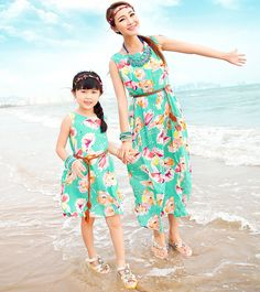Nice Info Mother Daughter Matching Dresses with Belt 2018 Summer Long Maxi Dresses Family Look Girl and Mother Long Beach Dress Chiffon Mom Daughter Matching Dresses, Mother Daughter Outfits, Matching Family Outfits, Family Clothing Sets, Striped Dress Outfit, Dress Casual, Long Dress Patterns, Estilo Cool, Girls Dresses