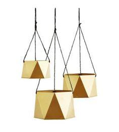 Plantenhangers goud geometrisch - set van 3