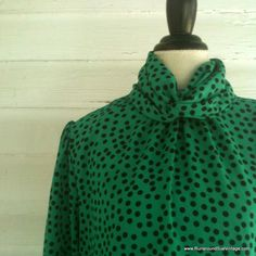 Vintage Blouse  1980s Green POLKA DOT by runaroundsuevintage, $24.00