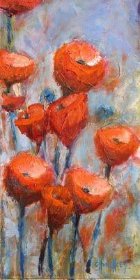 "Contemporary Artists of Colorado: ""Poppies"" Original Poppy Oil Painting by Western Colorado Artist Barbara Churchley"