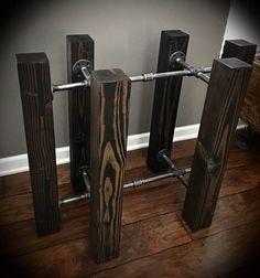 Poutre en bois & fer tube Rectangle Base de Table à manger