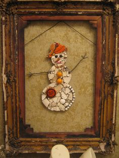 Mosaic Snowman Snow Man Snow Woman in Orange with Meyers Jewelry Tin Mosaic Art. $88.00, via Etsy.