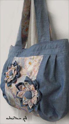 цветок из джинсовой ткани. Flower of denim fabrics for bags.