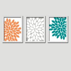 Orange Grey Teal Turquoise Flower Burst Gerbera Daisies Artwork Set of 3 Trio Prints Wall Decor Abstract Art Picture Silhouette. $30.00, via Etsy.