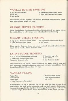 Vintage Recipes: 1964 Cakes, Cookies and Frostings Cake Frosting Recipe, Cookie Frosting, Cake Icing, Frosting Recipes, Cake Recipes, Dessert Recipes, Desserts, Retro Recipes, Old Recipes