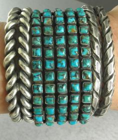 Wide Five Row Red Mountain Turquoise Navajo Row Cuff Bracelet Vintage Turquoise, Coral Turquoise, Turquoise Jewelry, Turquoise Bracelet, Silver Jewelry, Vintage Jewelry, Silver Cuff, Silver Ring, Sterling Silver