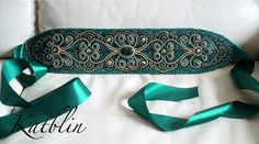 embroidered jewelry by Kate Blinova Beautiful embroidered belt by Kate Blinova Bead Embroidery Tutorial, Bead Embroidery Patterns, Couture Embroidery, Bead Embroidery Jewelry, Embroidery Fabric, Beaded Embroidery, Beaded Jewelry, Cinto Obi, Earrings Handmade