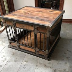 Rustic Industrial Dog Kennel, Dog Crate - Riveted Steel Dog Kennel with Reclaimed Barn Wood Industrial Mirrors, Rustic Industrial Decor, Industrial Lighting, Industrial Farmhouse, Vintage Industrial, Dog Crate Furniture, Rustic Furniture, Pipe Furniture, Furniture Vintage