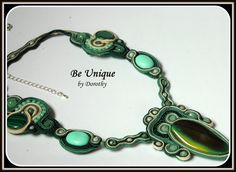 SOUTACHE NECKLACE with huge green AGATE by BeUniqueGallery on Etsy
