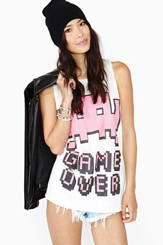 Game Over Muscle Tee in Clothes Tops Graphics at Nasty Gal