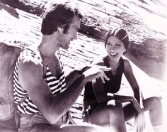 Clint Eastwood and Brenda Venus on the set of The Eiger Sanction directed by Clint Eastwood, 1975