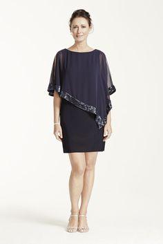 Caplet Short Jersey Mother of Bride/Groom Dress with Sequin Trim - Navy (Blue), 10