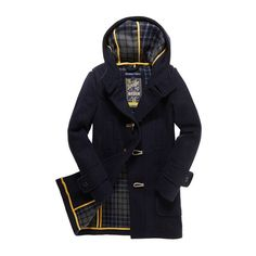 Paddington Duffle ($250) ❤ liked on Polyvore featuring outerwear, coats, jackets, blue coat, superdry, blue duffle coat, superdry coat and hooded toggle coat