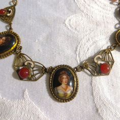 Antique Czech Cameo Necklace, Portrait Necklace, Carnelian Cabochons  Beautiful antique cameo necklace, most likely of Czech origin with three handpainted cameos of three d... #vintagevoguetreasure