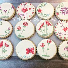 Cross stitch cookies                     #stitchnbitch #edibleart #handpiped #madebyhand #bestintown #crossstitchcookies #honeybeebakery