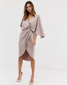 8322e367 ASOS DESIGN satin kimono midi dress with knot front and asymmetric sleeve