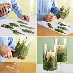 portacandele foglie di pino