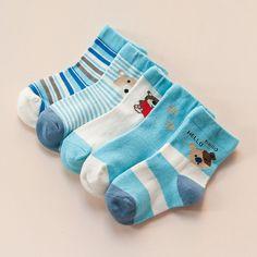 5Pairs/Lot 2016 New kids children Brand Cotton Socks Color Blue male female baby boy and girls Cartoon socks L1484