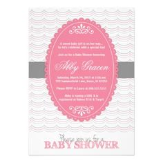 Baby shower invite for girls - pink and gray - 780