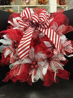 Candy cane mesh wreath custom floral by Andrea for Michaels Round Rock