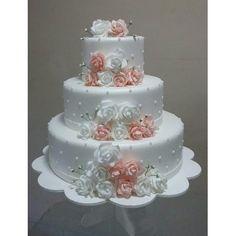 Bolo Fake Casamento De Eva Flores Rosa Branco Vermelho Nude - R$ 160,00