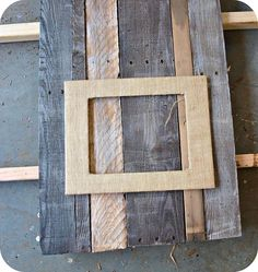 reclaimed wood and burlap picture frame, crafts, pallet, woodworking projects, Distress pallet wood and cut to size