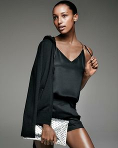 J.Crew Carrie cami and Collection cashmere zip-front hoodie. Love this all black outfit with the silver clutch.