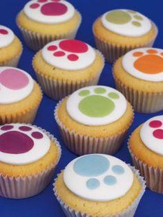 Cute Paw Print cupcakes.