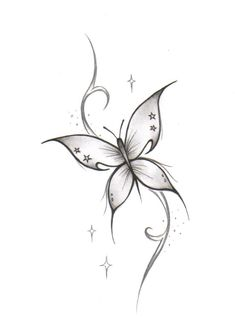 White Butterfly Free Tattoo Design.