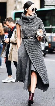 A fashion-forward sweater dress