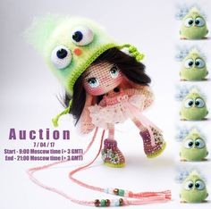Открытый аукцион по продаже каркасной Куколки ручной работы.  _______________________________   Welcome) Auction is for the Bunny - Doll in hat #AngryBirds : )   About 4.3 inches / 11cm tall. She can stand on her own. Materials: cotton, plush, wire frame, granulate. Handmade coloring and toning. Dress and Hat can be removed. Completely handmade.   Shipment free Worldwide. Auction starts at 10$, with increments 3$ or more. Start - 9:00 Moscow time (+ 3 GMT) 7/04/17. End - 21:00 Moscow tim...