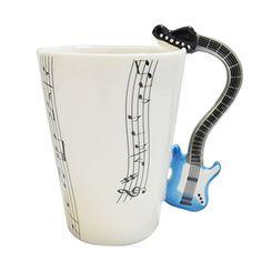 Giftgarden 14 OZ Coffee Mugs Best Love Gift Music Violin Notes Holds Tea Coffee Milk Ceramic Mug, Blue Electric Guitar, Blue Guitar, Coffee Music, Coffee Milk, Music Decor, Guitar Design, Ceramic Mugs, Mug Cup, White Ceramics