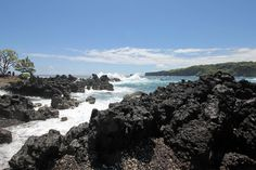 Maui, Hawaii. A shoreline  of lava rock in Keanae.