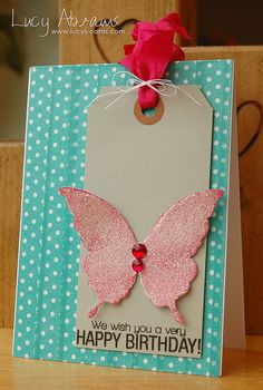 Birthday Butterfly Card with #Washi Tape Background