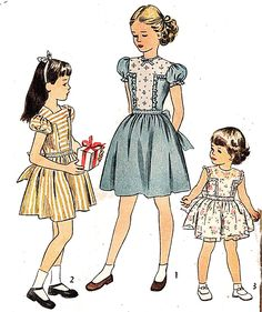 Simplicity 2069 Girl's Vintage 1940s Party Dress Sewing Pattern by DRCRosePatterns on Etsy